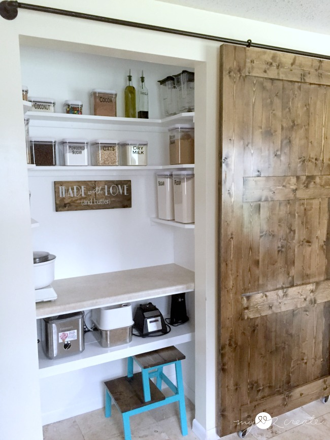 Baking cupboard with sliding barn door