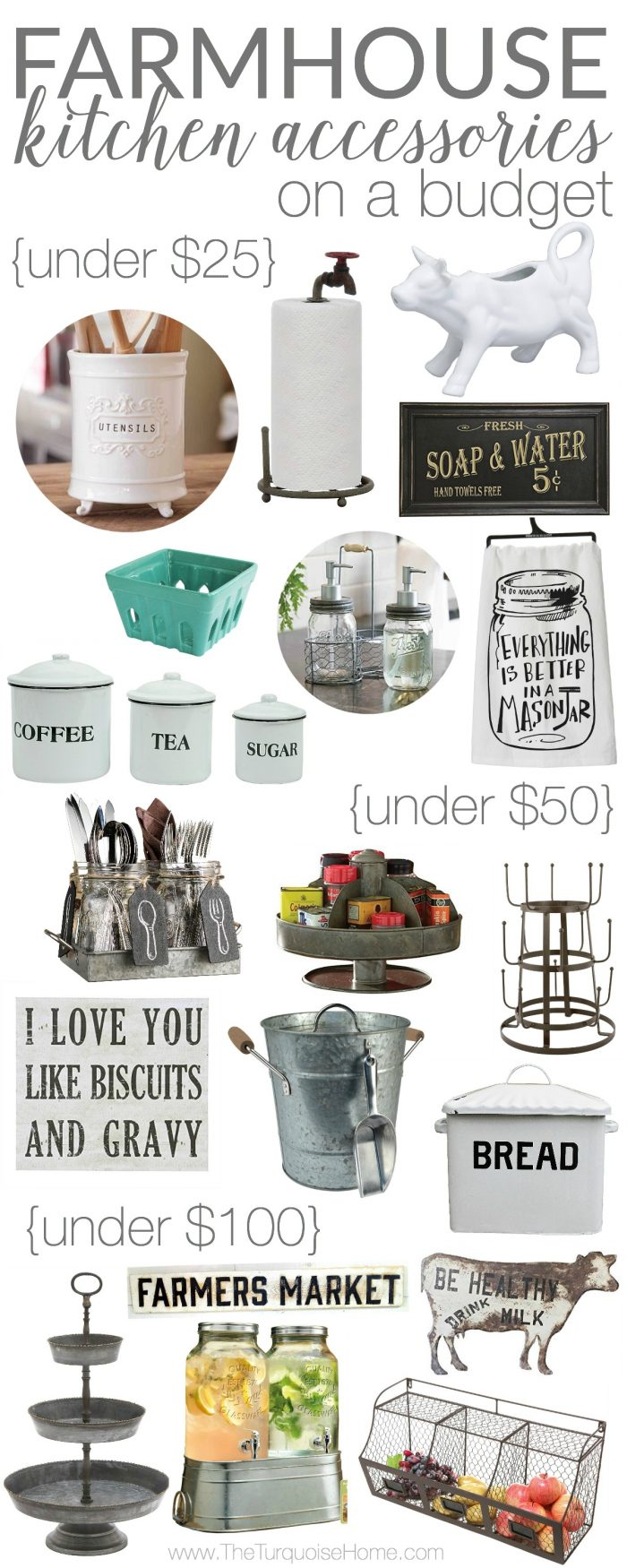 Farmhouse kitchen accessories on a budget Home design kitchen accessories