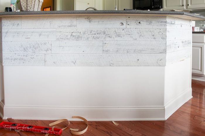 LOVE this beautiful transformation!! Weathered Reclaimed Kitchen Bar