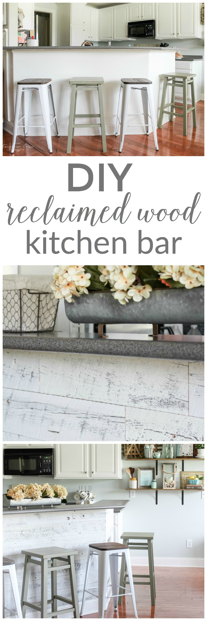 LOVE this beautiful transformation!! DIY Weathered Reclaimed Kitchen Bar