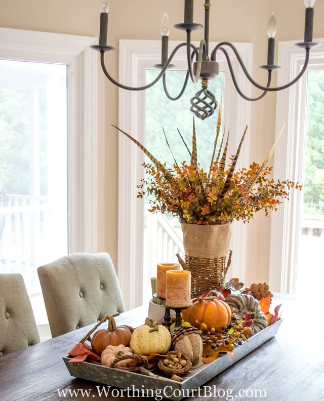 Farmhouse Fall Table Centerpiece from Worthing Court - click for more fall inspiration! | 11 Ways to Add Fall to Your Home