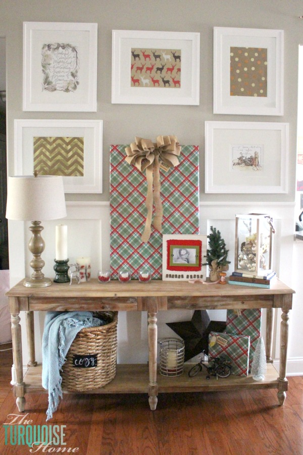 A Christmas vignette with the Everett Foyer Table from World Market