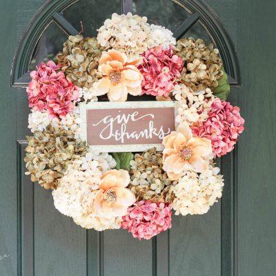 DIY Faux Hydrangea Fall Wreath