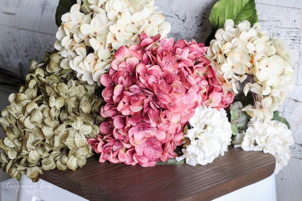 Pretty faux blooms for my DIY Fall Faux Hydrangea Wreath