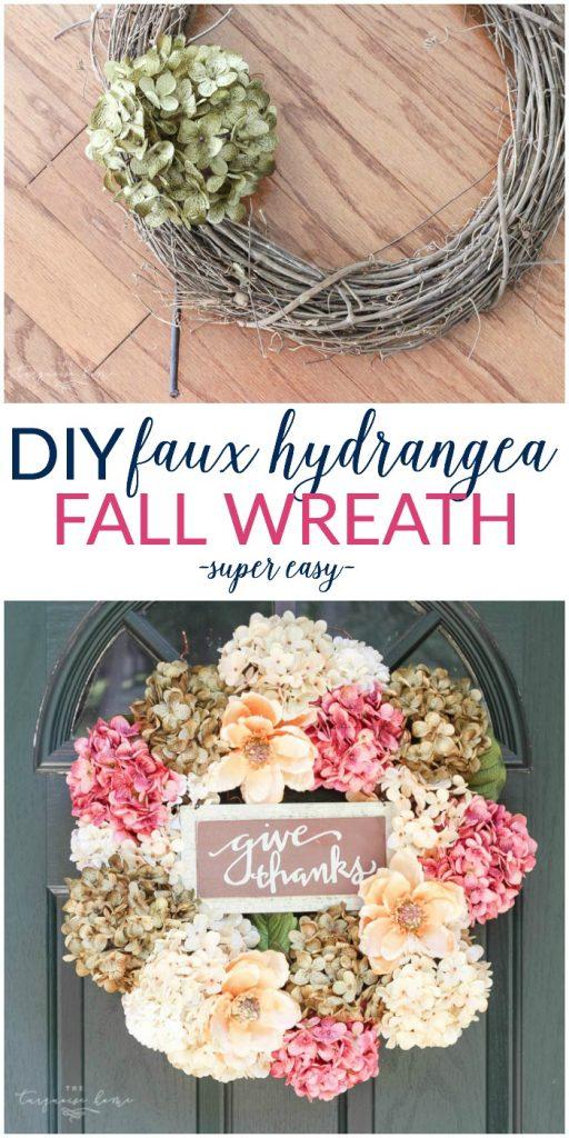 DIY Fall Hydrangea Wreath
