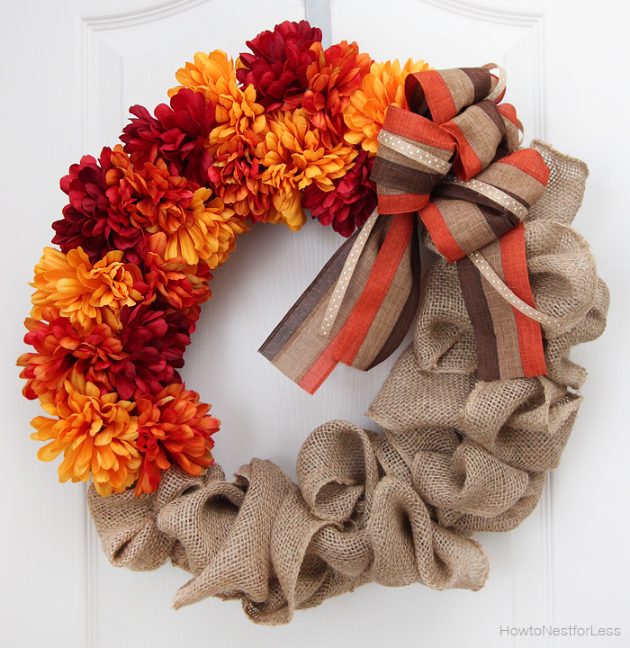 Fall Flower and Burlap Wreath