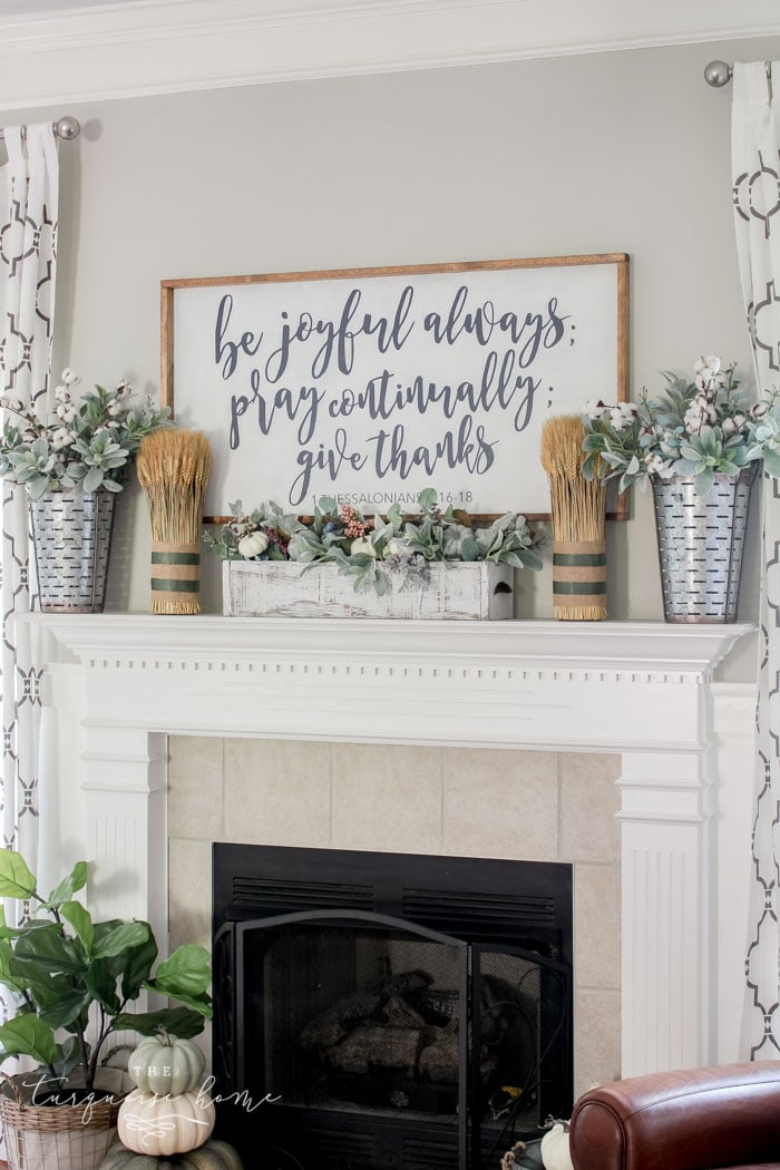 Fall Farmhouse Mantel with Galvanized Metal Olive Buckets - click for more fall inspiration!! | 11 Ways to Add Fall to Your Home