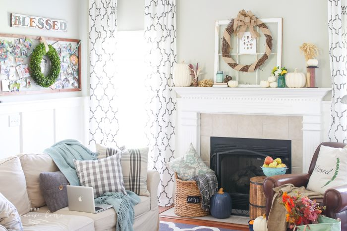 Cozy and rustic living room dressed up for fall!