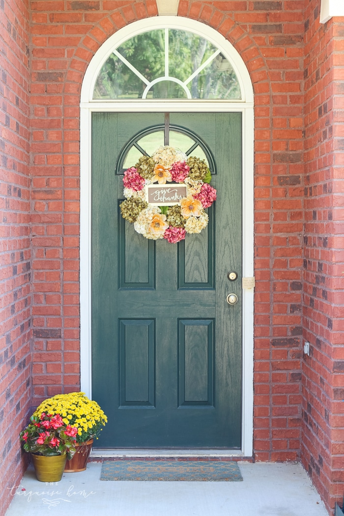 Pretty fall front door with a new DIY wreath! | 11 Ways to Add Fall to Your Home