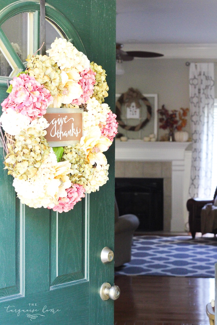 Pretty fall front door with a new DIY wreath!