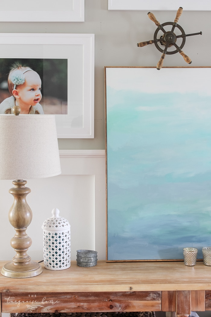 Photo Gallery Wall in the Living Room | The Turquoise Home