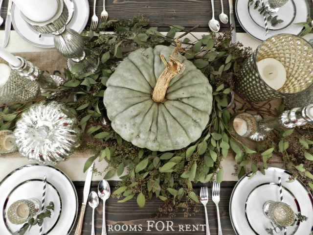 Mercury Glass and Eucalyptus Tablescape from Rooms for Rent Blog. Click to see more fall inspiration! | 11 Ways to Add Fall to Your Home