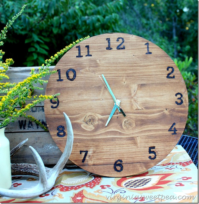 DIY Wood Clock with Wood Burned Numbers