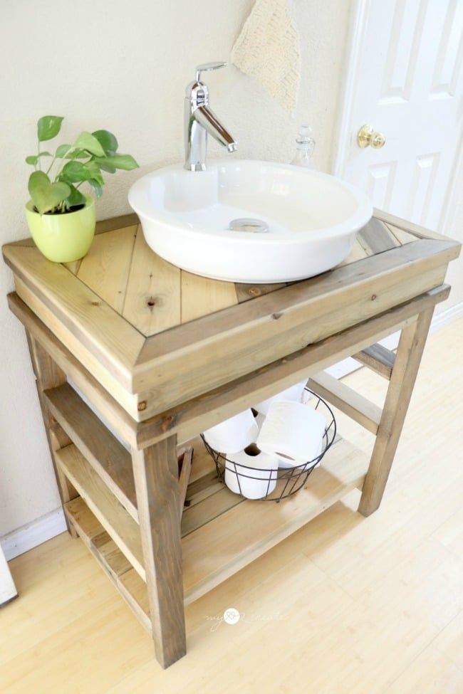 Diy wood projects work it wednesday the blissful bee for Diy wood vanity