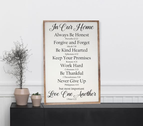 Family Rules Wooden Art | Top 15 Gifts for the Inspirational Wall Art Lover
