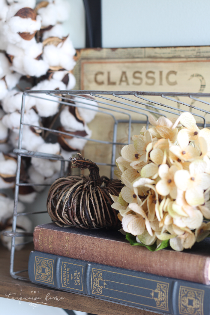 You don't have to have a huge storage room for seasonal decor! Just change out a few pieces here and there!! | How to Decorate Simply For Every Season | Fall Farmhouse Kitchen Shelves