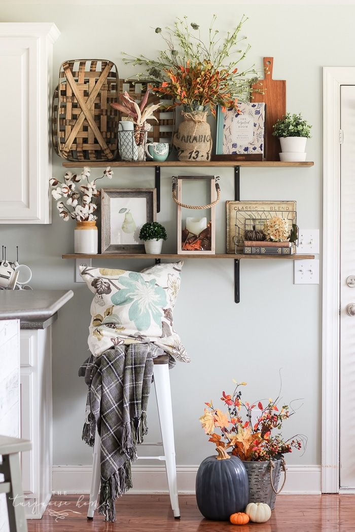 Fall Farmhouse Shelves full of texture and natural elements | 11 Ways to Add Fall to Your Home