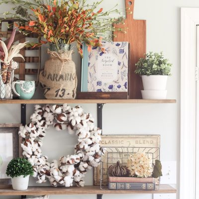 Fall Farmhouse Kitchen Shelves & How to Decorate Simply Through the Seasons
