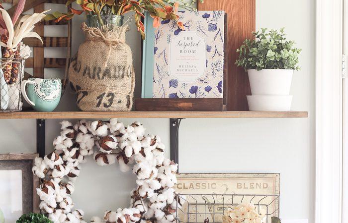 Fall Farmhouse Kitchen Shelves & How to Decorate Simply Through the Seasons