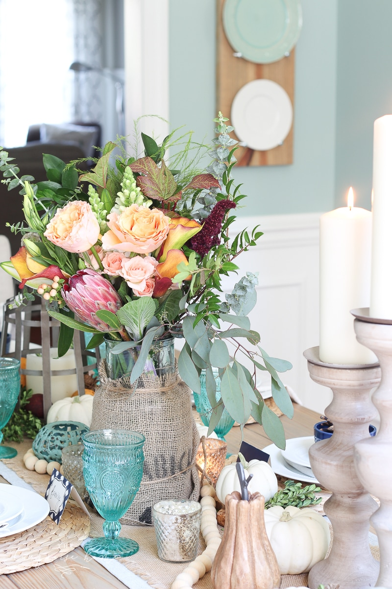 Farmgirl Flowers Fall Tablescape with pumpkins & turquoise goblets.