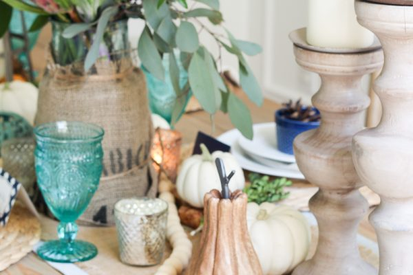 Lantern, Candles and Farmgirl Flowers Fall Tablescape