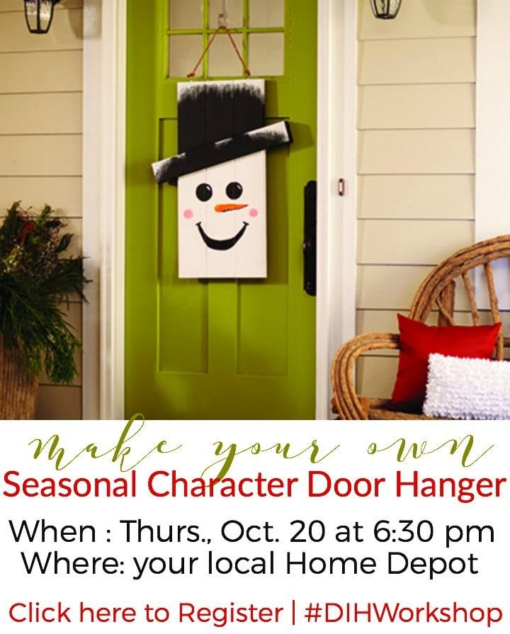 DIH Workshop Seasonal Door Hanger with Home Depot | DIY Rustic Snowman Door Hanger #dihworkshop