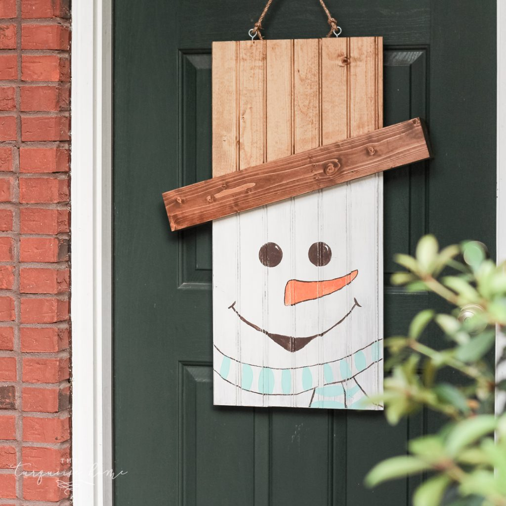 DIY Rustic Snowman Door Hanger #dihworkshop