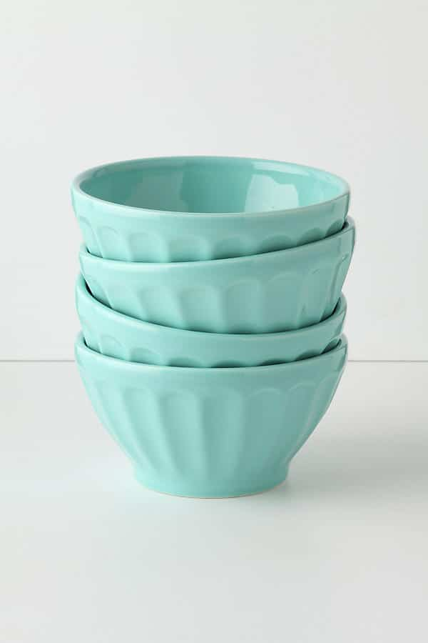 Perfect for serving ice cream! Or serving all of the toppings at a taco bar! Turquoise Latte Bowls | Top 15 Kitchen Gifts for the Turquoise Lover