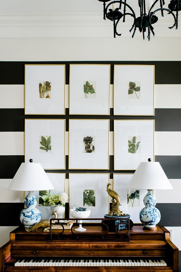 Botanical Gallery Wall with stripes! | 5 Simple Gallery Wall Ideas!