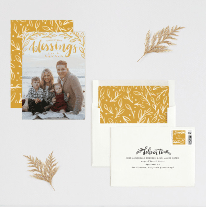 Botanical Blessings Minted Christmas Card