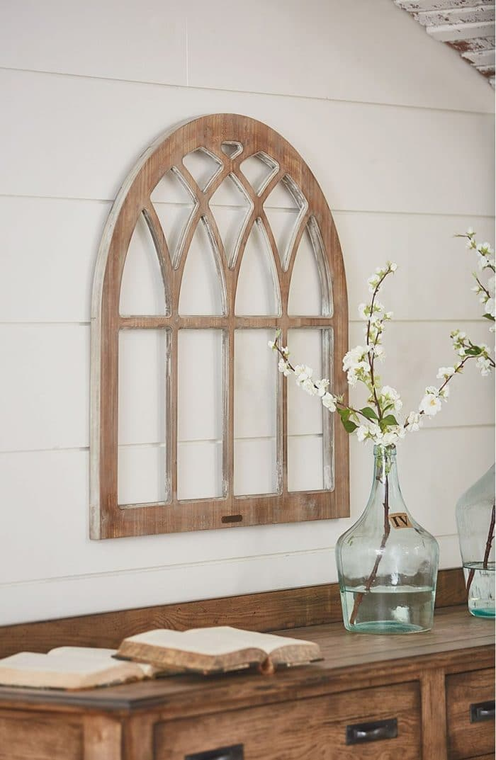 Fixer Upper's Cathedral Window Headboard | Get the look for less! Fixer Upper-style DIY Cathedral Window Frame