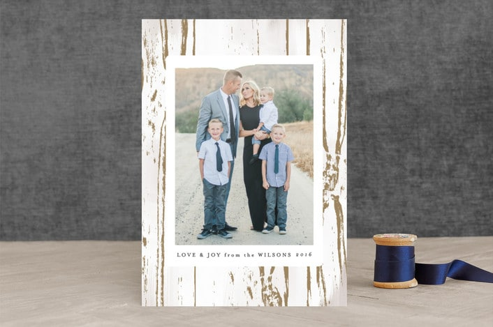 Great tips! How to Choose the Perfect Photo Christmas Cards! Gilded Woodgrain Christmas Card Design