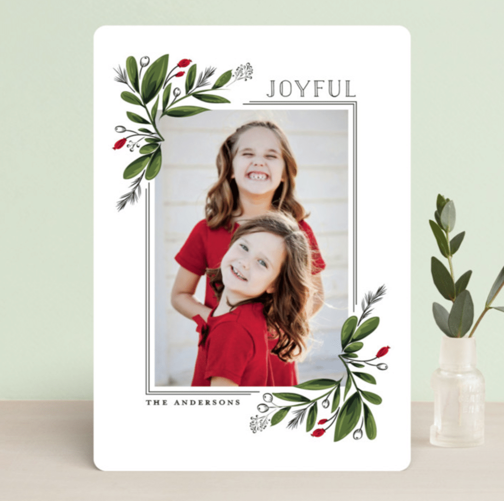 Greenery Corners Minted Christmas Cards