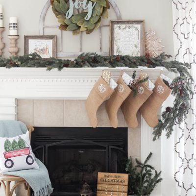 Magnolia Wreath Christmas Mantel Decor