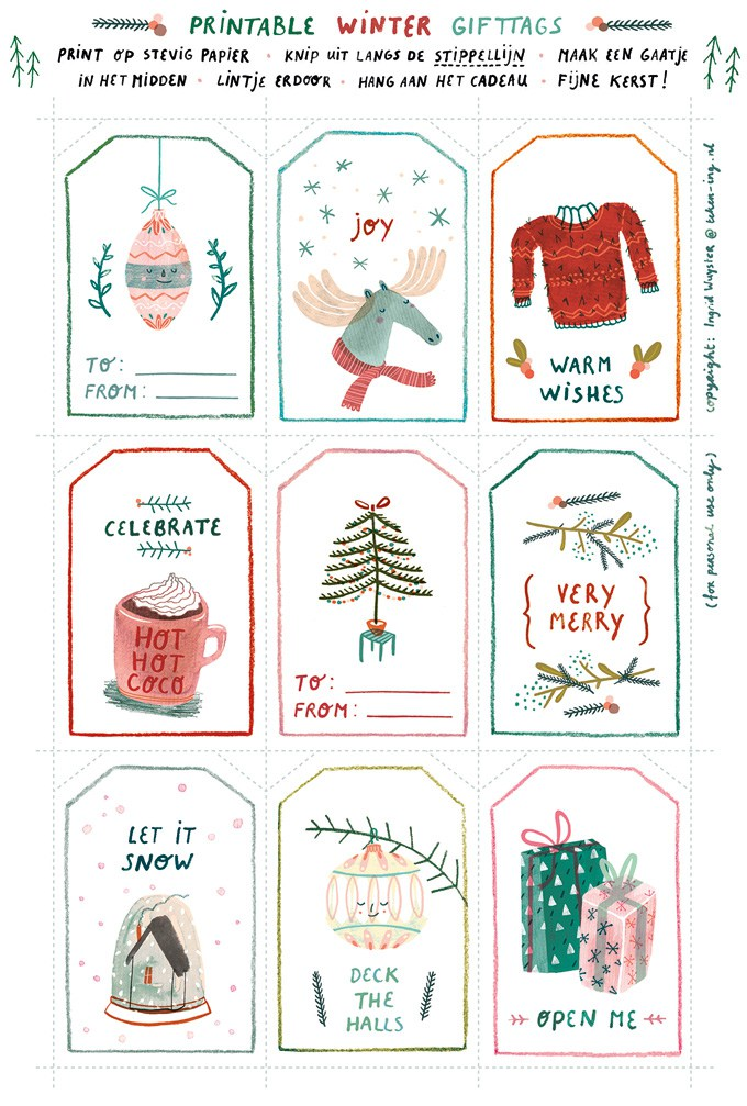 Free download winter gift tags!
