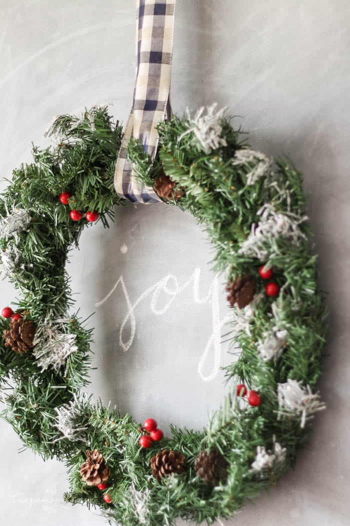 Lovely Eat-in Kitchen all decorated for Christmas and Kitchen Decor with DIY Christmas Kitchen Wreaths!
