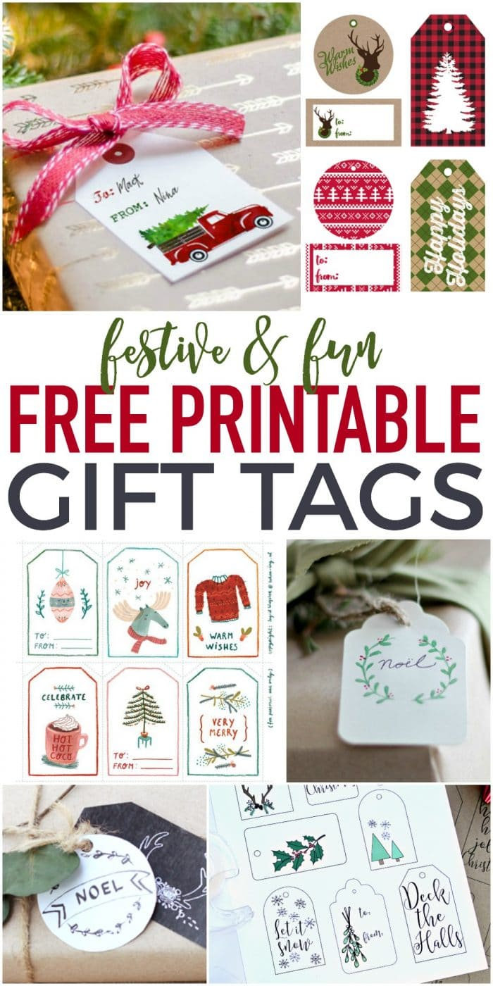 Fun and festive Free Printable Gift Tags - perfect for dressing up those gifts for cheap!