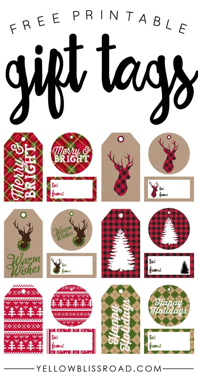 Free printable Christmas gift tags!