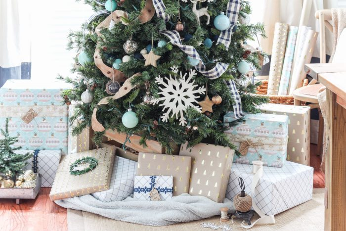 Navy Buffalo Check and Turquoise Christmas Tree
