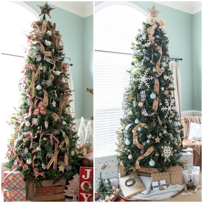 Navy Christmas Ornaments.Navy Buffalo Check And Turquoise Christmas Tree