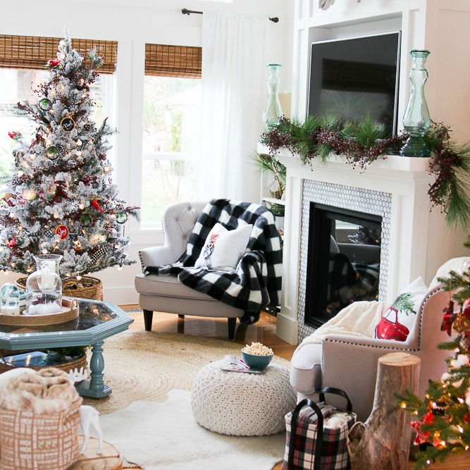 The perfect touches of buffalo check and plaid - will carry this room through all winter long! | How to Use Winter Decorations for Christmas