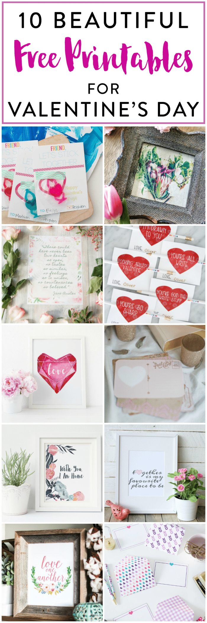 10 Beautiful Free Printables for Valentine's Day