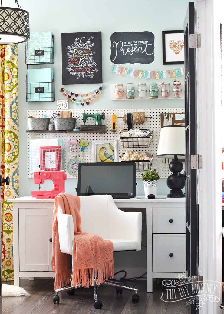 Colorful Boho Craft Room Home Office from The DIY Mommy