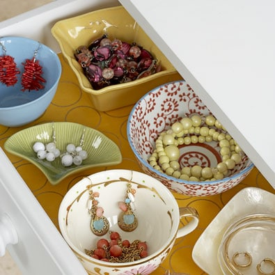 Jewelry Organized in Bowls