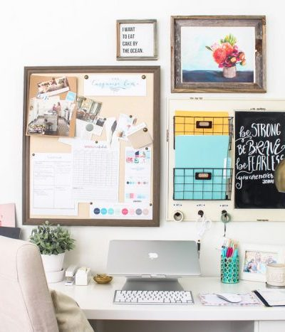 An organized desk in a home office