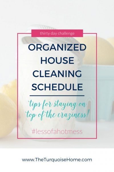 Feel less stress when you are disciplined about the daily cleaning routine! An Organized House Cleaning Schedule | 30 Days to Less of a Hot Mess Challenge