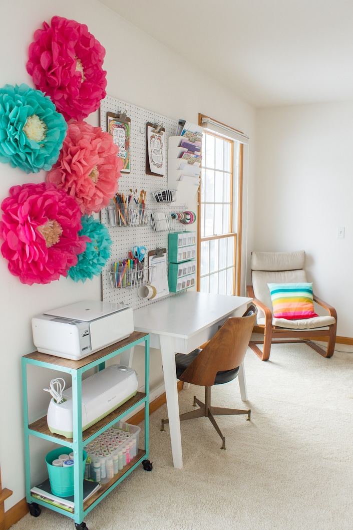 A Pop of Color Office and Craft Room from White House Black Shutters