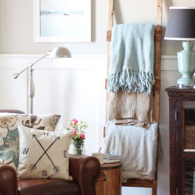 Easy & Rustic DIY Blanket Ladder for less than $10