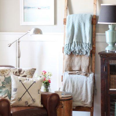 Easy & Rustic DIY Blanket Ladder for less than $10