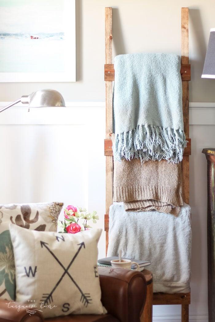 Easy Rustic Diy Blanket Ladder For Less Than 10